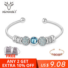 Viennois Rose Gold / Silver Color Bracelet&Bangles For Women Fashion Top Austrian Rhinestone Blue Crystal Jewelry 2019 top quality zyh153 simple and noble green crystal rose gold color bracelet jewelry austrian crystals wholesale