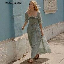 2019 New Women French style 3D dot Spliced Ruffles Square Collar Maxi Long  Swing Dress Backless a5c4c7292e7e