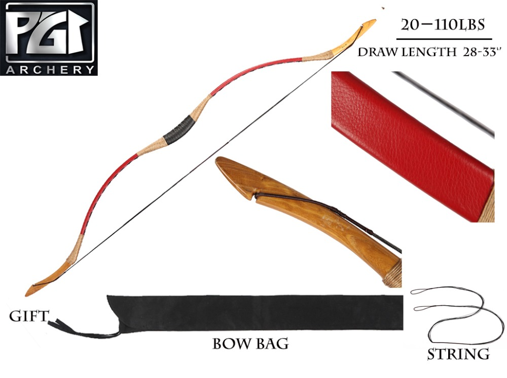 PG1ARCHERY ручной работы красный лук набор для стрельбы из лука 6 деревянный охотничий стрелки пальцев Защита руки колчан изогнутый лук - 4