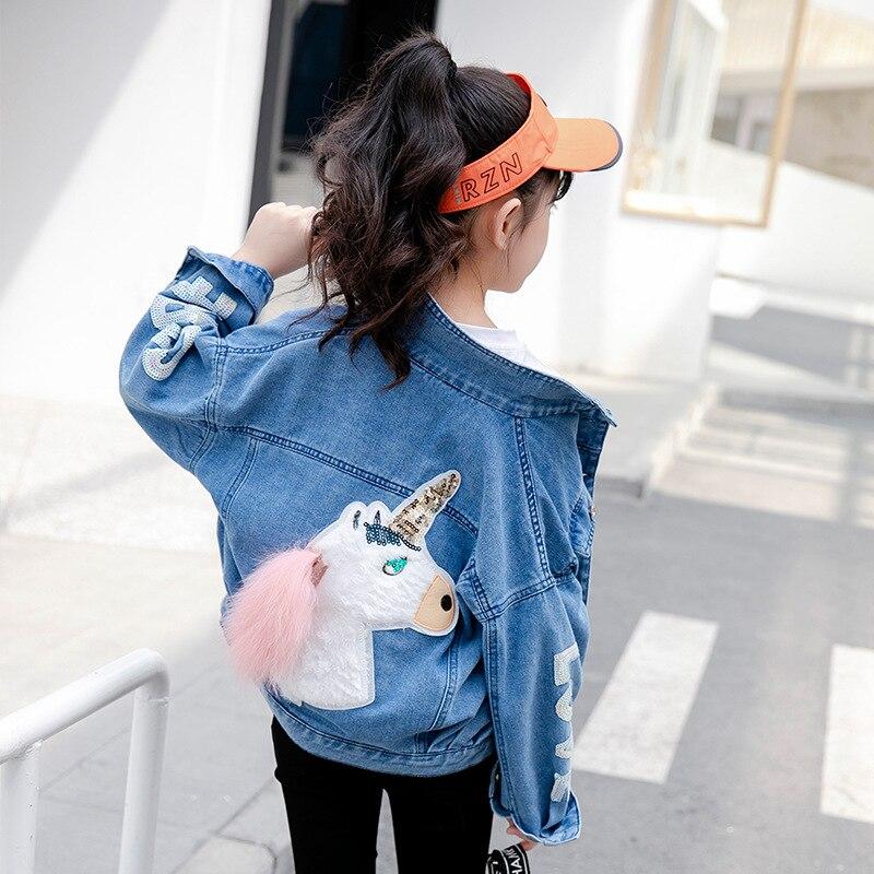 unicornio de lantejoulas denim jaqueta para meninas casacos criancas roupas outono do bebe meninas roupas outerwear