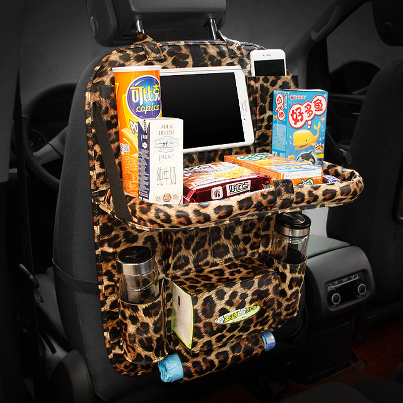 Car Multifunctional Pu Leather Front Back Cover with Folding Backseat Food Tray Table Storage Bags Auto Tissue Bag Organizador цена