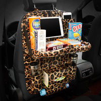 Car Multifunctional Pu Leather Front Back Cover With Folding Backseat Food Tray Table Storage Bags Auto