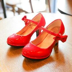 Bekanille meninas sapatos de couro outono bowtie sandálias 2019 novas crianças sapatos salto alto princesa sandálias doces para meninas sz107