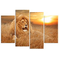 Lion in The Dry Grass African Landscape Wall Art 4 Piece Lion Painting Print On Canvas Animal Pictures For Home Decor Decoration