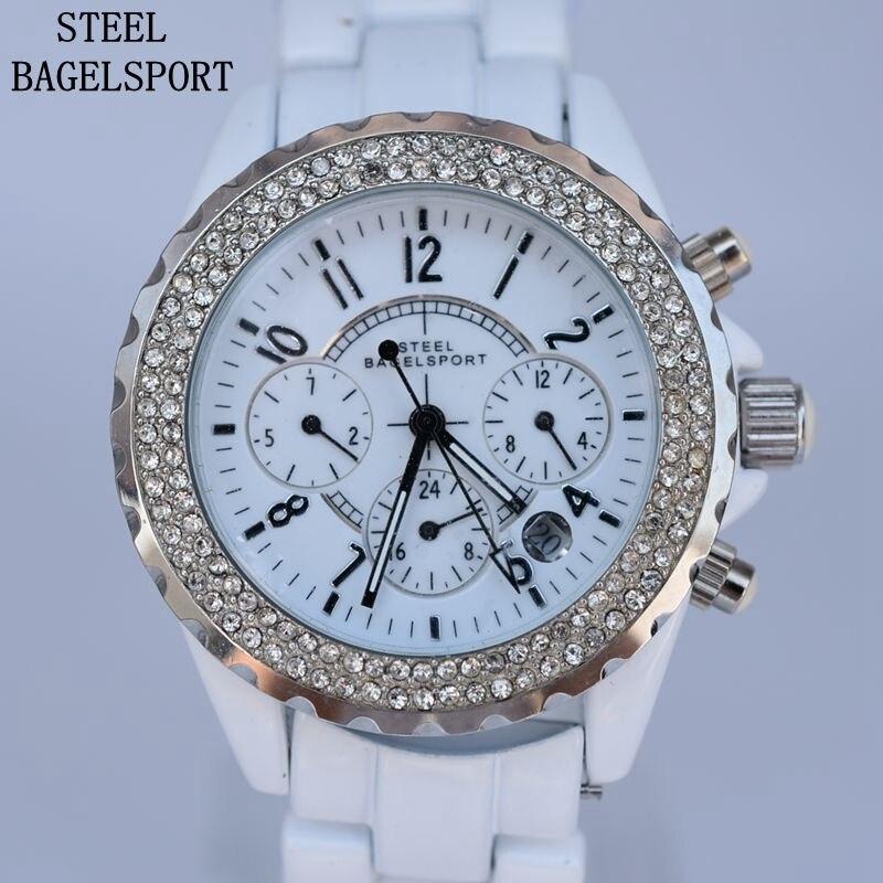 Klasyczne damskie kryształ górski ceramiczne automatyczne mechaniczne zegarki męskie Top marka luksusowy zegarek biznesowy mężczyzna zegar mody zegarek pani w Zegarki dla zakochanych od Zegarki na  Grupa 1