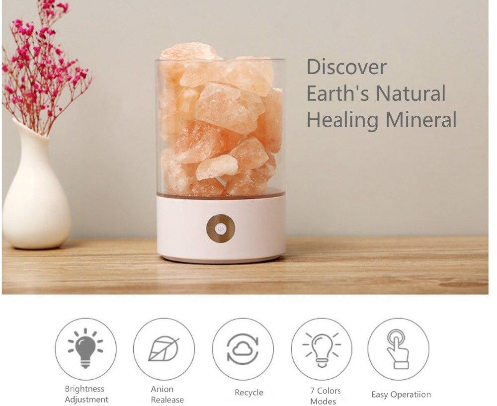 Smart Natural Himalayan Salt Lamp, Pink Salt Glow LED Air Purifier Night Light Rechargeable Bedside creative lamp
