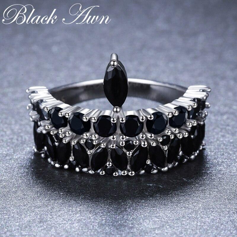 2019 Neue Bijoux Rock 925 Sterling Silber Edlen Schmuck Schwarz Spinell Engagement Ring Für Frauen Anillos Mujer G060