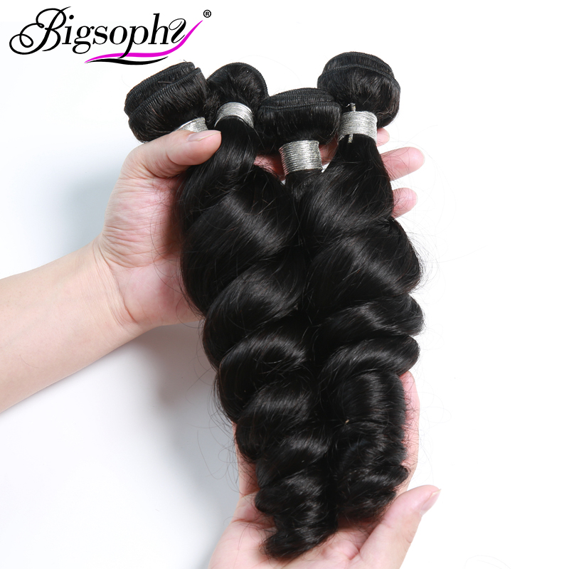 Bigsophy Mongolian Hair Loose Wave 4 Bundles Deal Human Hair Bundles Remy Hair Extensions  Hair Weft Natural Color