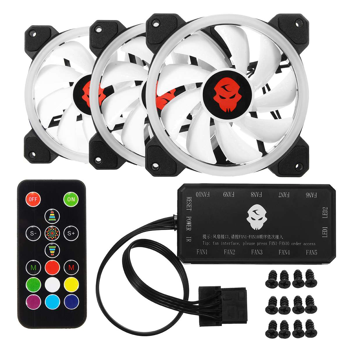 S SKYEE Computer Case Cooling Fans 120mmX120mmX25mm RGB Adjust LED 6ps 12V Quiet And Remote Silent Fans For Computer CPU