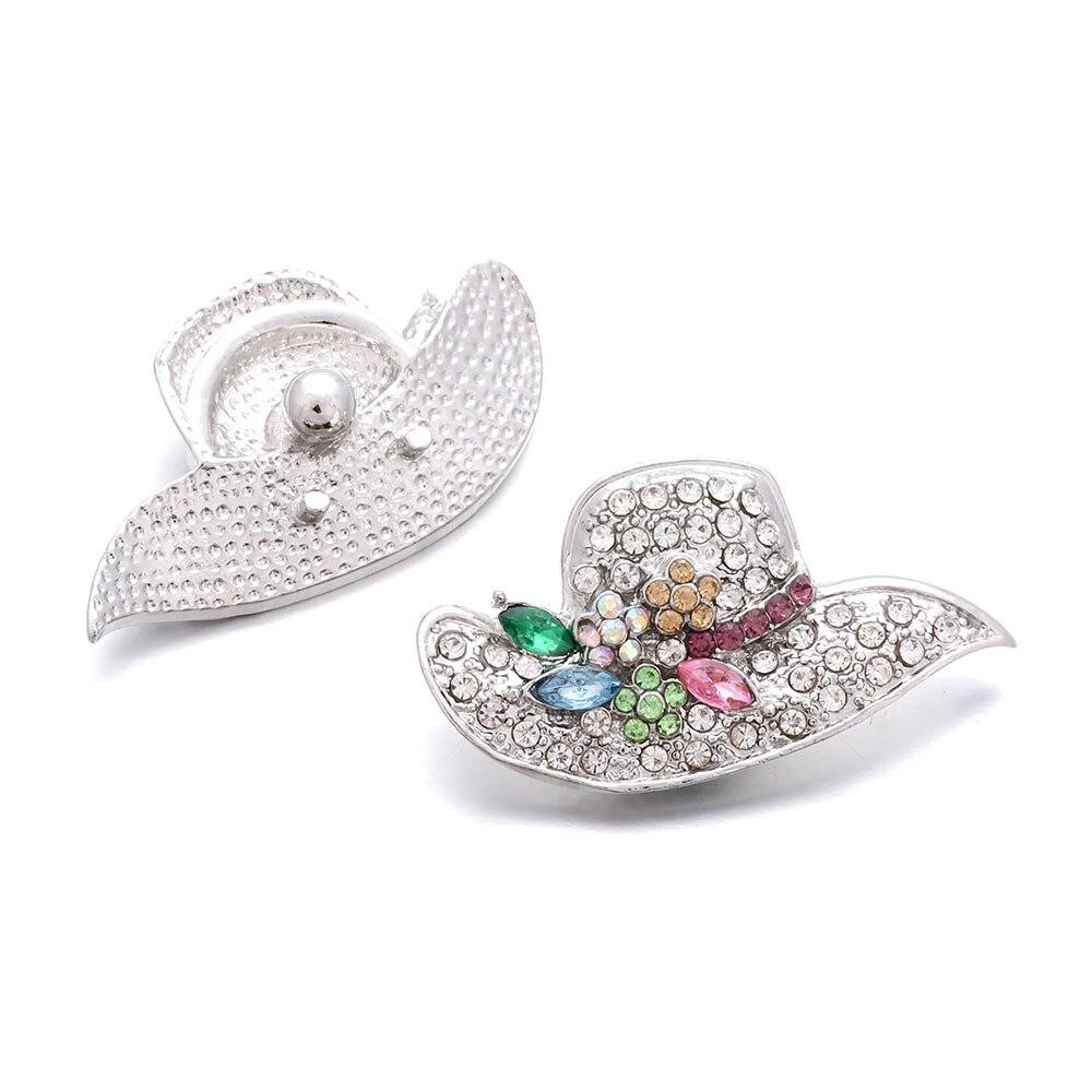 10pcs/lot Fashion Women Hat Snap Jewelry Metal Button Fit 18mm Snap Button Bracelet Bangles DIY Jewelry