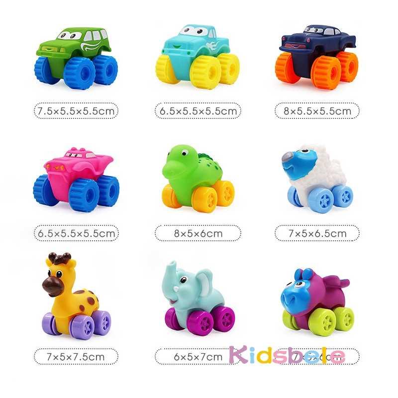 5 قطعة لينة المطاط سيارة ألعاب للأولاد فتاة الحيوانات المركبات دفع والظهر عجلات سيارة حمام الماء لعب للأطفال أطفال طفل الزحف لعبة