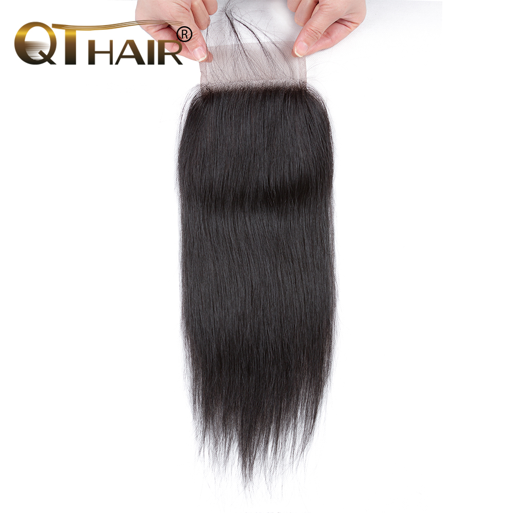 QT Hair Closure Brazilian Straight Human Hair Lace Closure 4X4 Free Middle Three Part With Baby Hair Remy Hair 10-20 Inch