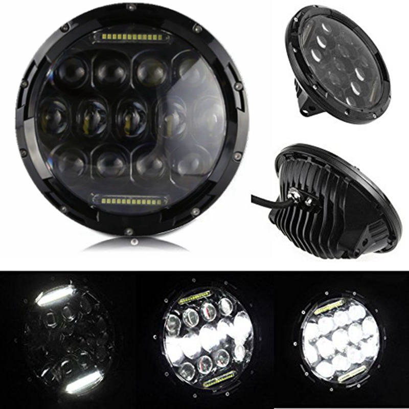ФОТО 2PCS 7 Inch 75W High Low Beam LED Headlight with DRL For Jeep Hummer FJ