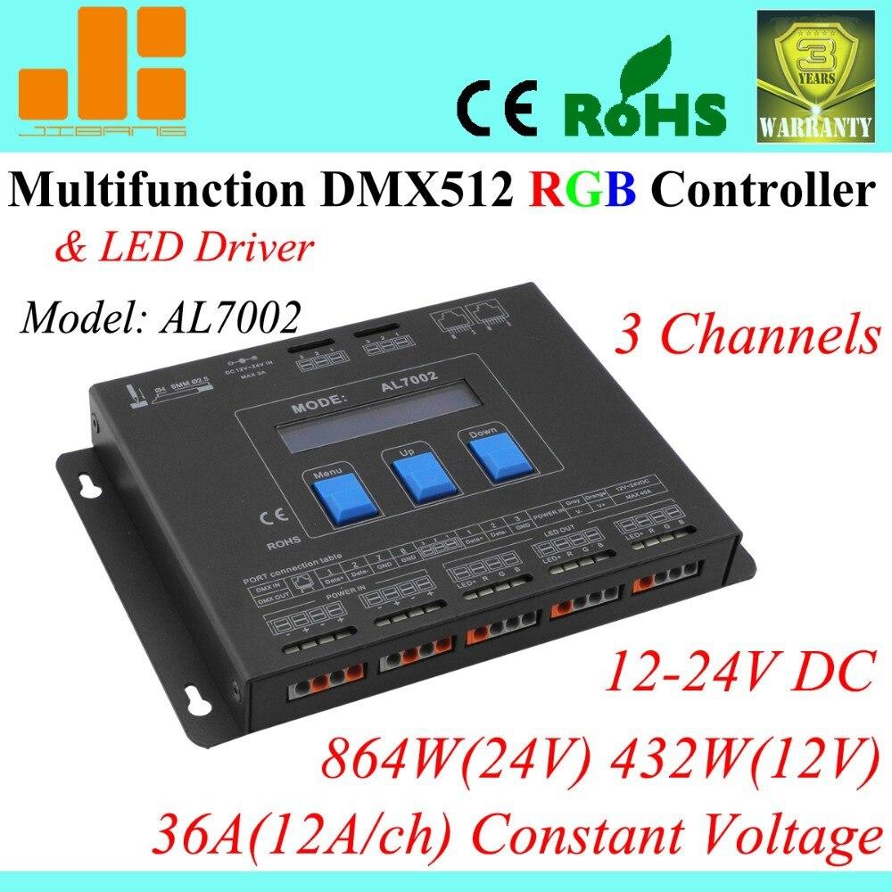 Free shipping Multifunctional RGB Controller / DMX led driver / DMX Controller master, 3 Channels AL7002 dmx512 digital display 24ch dmx address controller dc5v 24v each ch max 3a 8 groups rgb controller
