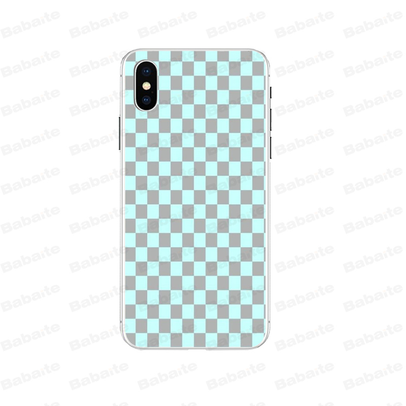 Babaite Checkerboard Checked Checke Customer High Quality Phone Case for iPhone 7 7plus X XS MAX 6 6S 8 8Plus 5 5S XR in Half wrapped Cases from Cellphones Telecommunications