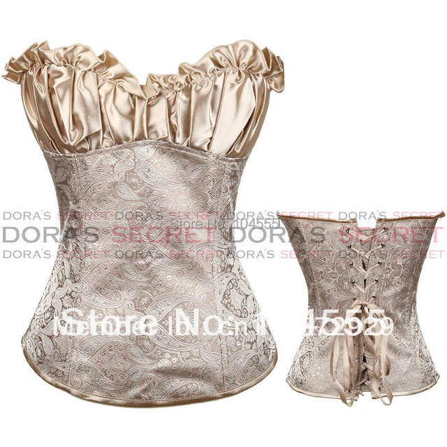 Free shipping 2012 New Corset lingerie Creamy Lvory Renaissance Corset Top Wholesale Overbust Steel bone corset
