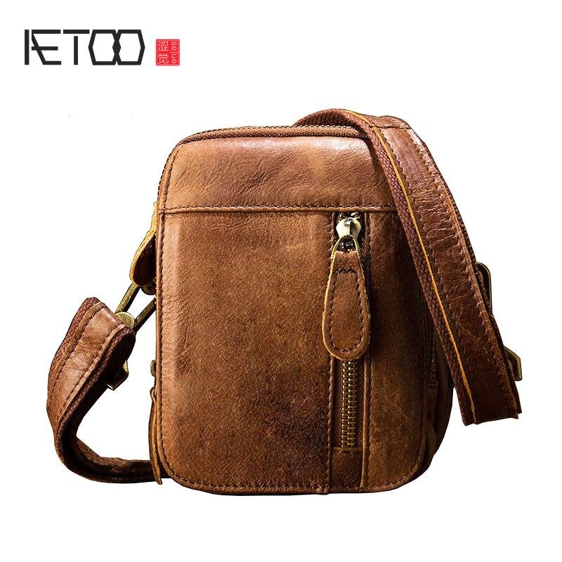 5a6d5357dc52 AETOO ручной работы кожаные карманы мужская кожаная сумка на плечо Ретро  Личность Сумка мини-сумка
