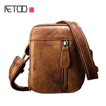 AETOO Handmade túi da da nam shoulder bag retro cá tính túi Messenger túi nhỏ người đàn ông Hàn Quốc túi nhỏ