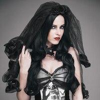 EVA LADY Punk Women Black Fashion Roses Veil Steampunk Gothic Party Prom Black Headwear Beatiful Mysterious Veil