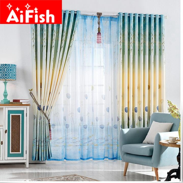 Small Fresh Pastoral Blue Leaves Scenic Curtains Double - sided Printing  Shade Cloth Curtains For Living