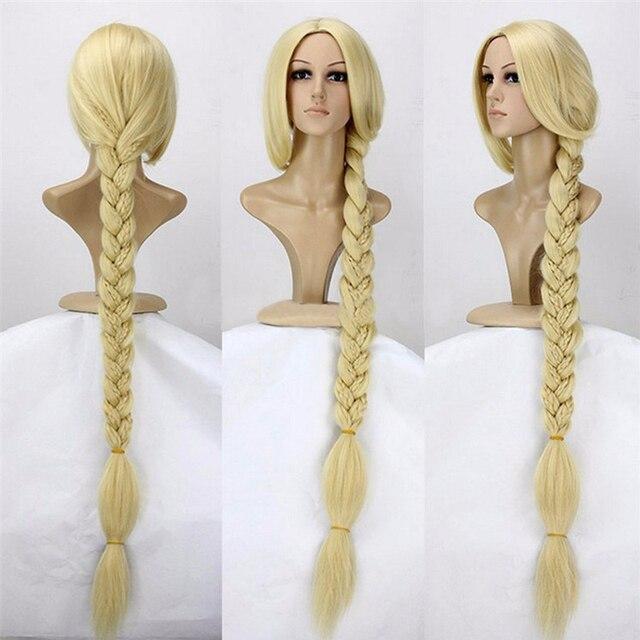Peluca de cabello sintético de princesa enredada, peluca de Cosplay superlarga de pelo sintético Rapunzel de 120cm y 47 pulgadas con gorro de peluca