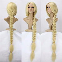 Tangled Princess 120cm 47 Straight Blonde Super Long Cosplay Wig Rapunzel Synthetic Hair Anime Wig + Wig Cap