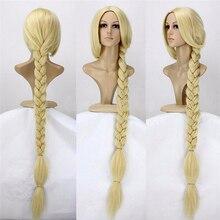 "Tangled Prinses 120Cm 47 ""Straight Blonde Super Lange Cosplay Pruik Rapunzel Synthetisch Haar Anime Pruik + Pruik Cap"