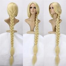 "Tangled Prinzessin 120cm 47 ""Gerade Blonde Super Lange Cosplay Perücke Rapunzel Synthetische Haar Anime Perücke + Perücke Kappe"