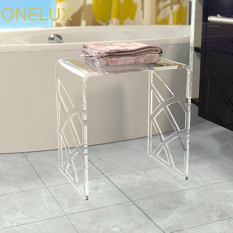 Elegant White Acrylic Shower Stool,Vanity Bathroom Stools,Waterfall Lucite Side U table -40W 30D 43H CM