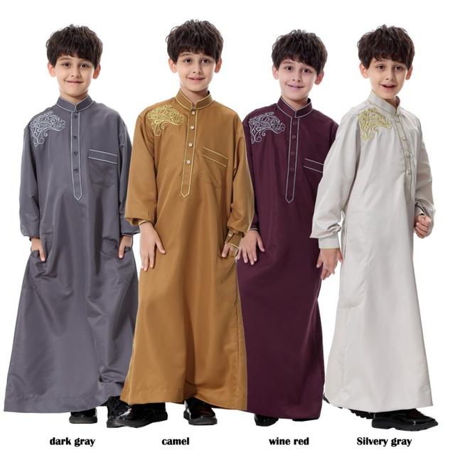 Thoub Abaya Kaftan Niños Arabia Ltima Daffah Dishdasha Islámico Árabe Vestido Largo Robe