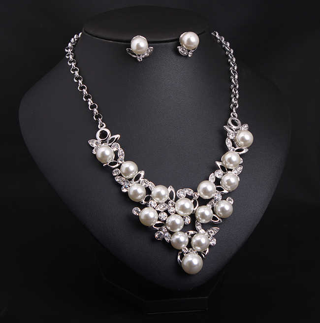 Hesiod Silver Color Full Simulated Pearl Crystal Necklace Earrings Jewelry Sets Wedding Bridal Alloy Necklaces & Pendants Set