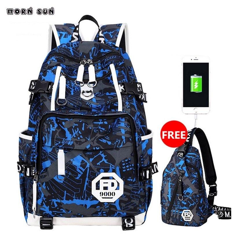 University Wind Usb Charging Backpack Boy Laptop Schoolbag Waterproof Geometric Pattern Backpack Mochilas Para Viagens Boy Bag