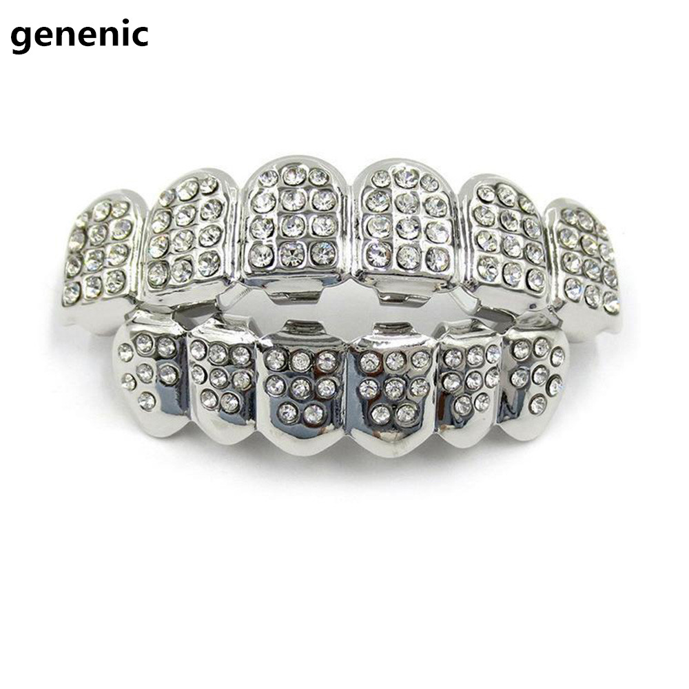 Gold Silver Iced Out CZ Teeth Grillz Top Bottom Bling Men Women Jewelry New