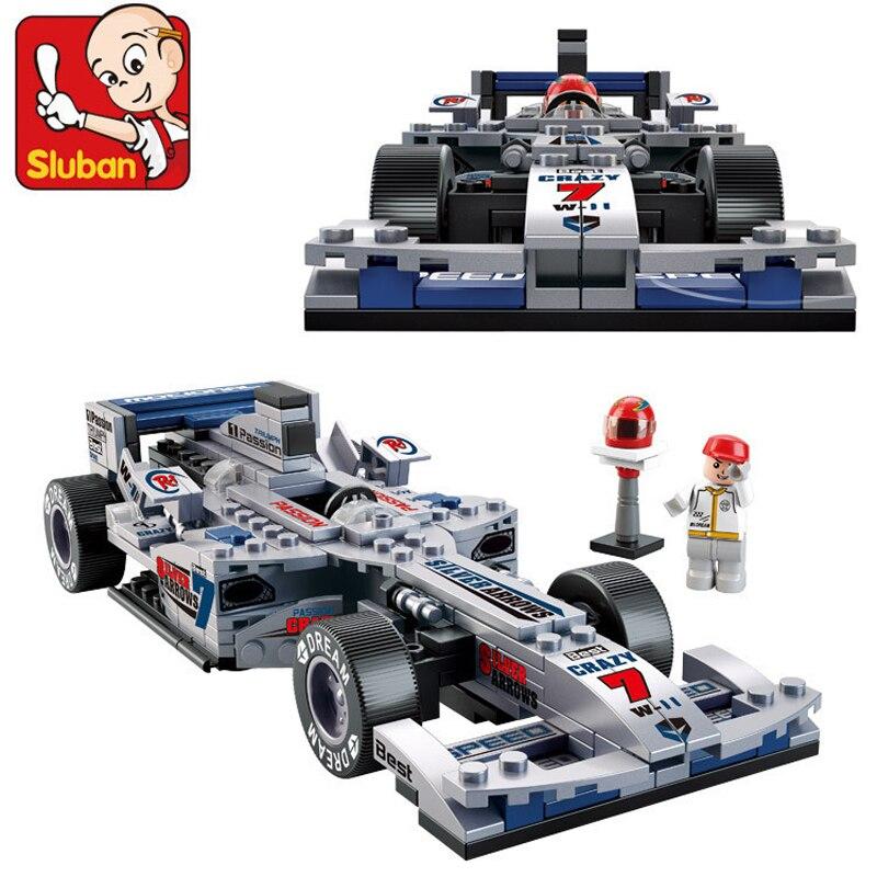 Sluban Building Blocks M38-B0352 F1 Racing Car DIY Blocks Set Construction Educational Bricks Motorcycle Race Toys For Children
