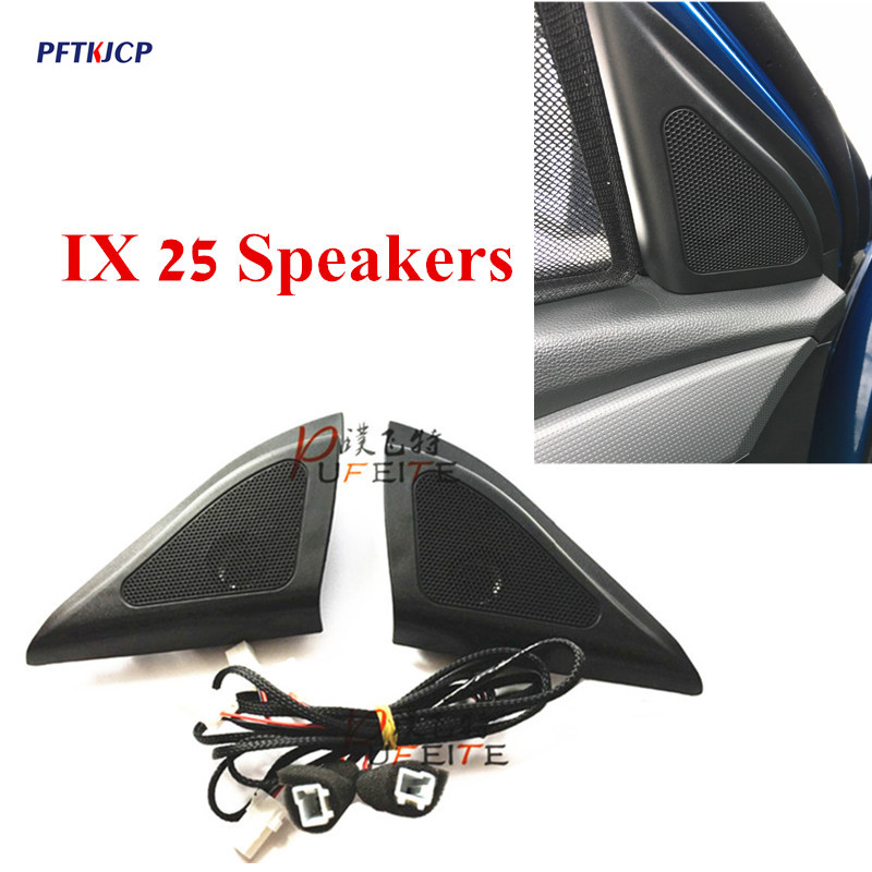 For Hyundai ix25 speakers tweeter car-styling Audio trumpet head speaker ABS material triangle speakers tweeter hifine hi 520d 28mm tweeter component speaker for car audio system black pair