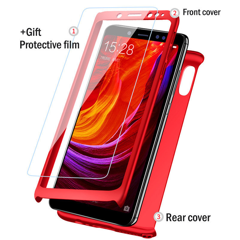 best website d4418 8dd2b 360 Degree Cover Case For Xiaomi Redmi Note 5 Pro 5 Plus 6 6A 4 4X 4A Free  Glass Case For Xiaomi Mi 8 SE 6 6X A2 5X A1 Cases
