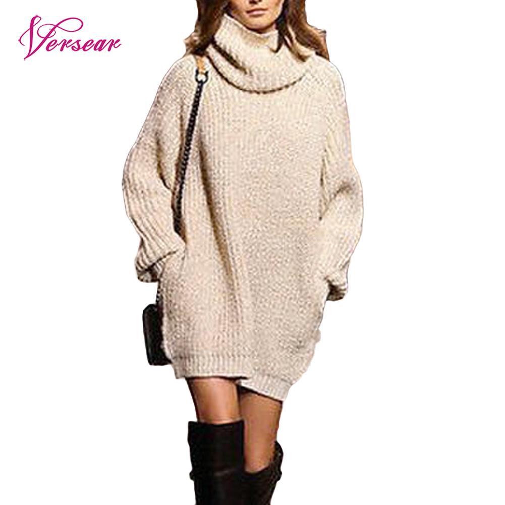 Versear Winter Women Turtleneck Sweater Dress Warm Oversize Long Sleeve Jumper Dress Pockets Casual Ribbed Knitted Mini Dress