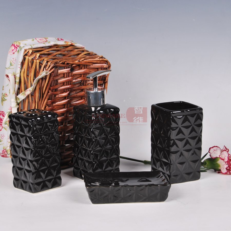 High Quantity Bathroom Product Ceramic Bathroom Set 4 Piece Set Black Mosaic Bathroom