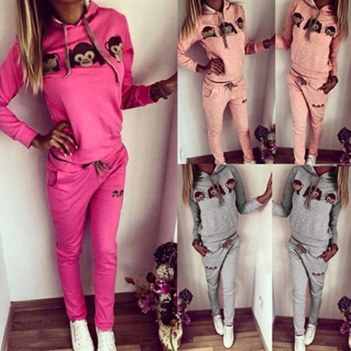 Women's Clothing 2016 New Womens Casual Monkey Face Top Sweatshirt Pant Suit Sweat Tracksuit Hoodies