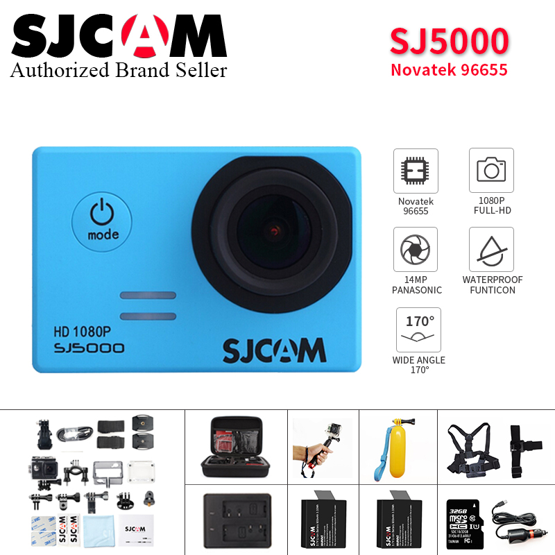 Original SJCAM SJ5000 Basic action camera Diving 30M waterproof Mini extreme Sport Camcorder DV with monopod camera bag option original sjcam sj5000 series action video camera sj5000x 4k elite sj5000 wifi sj5000 basic mini outdoor sport camcorder dv