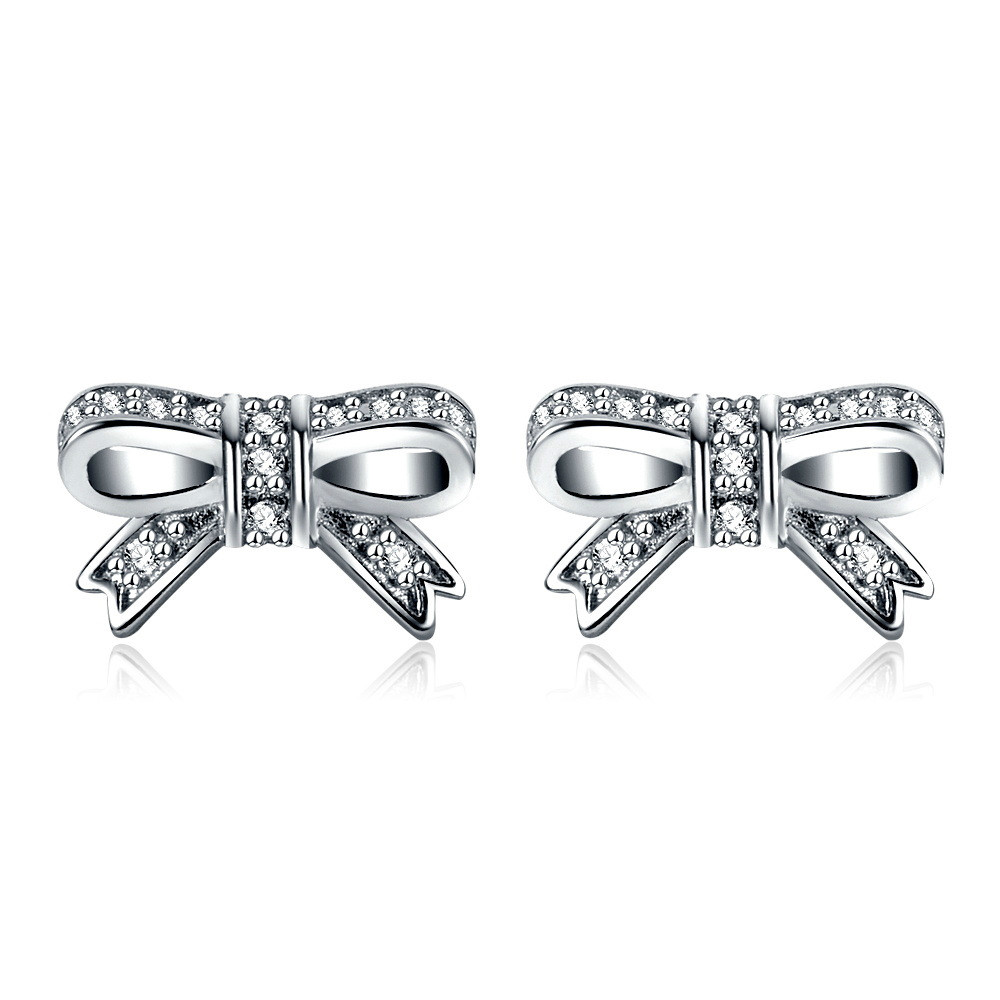 ceab1d041 ... sale hight quality silver color clear cz pandora earring sparkling bow  stud earrings for women party