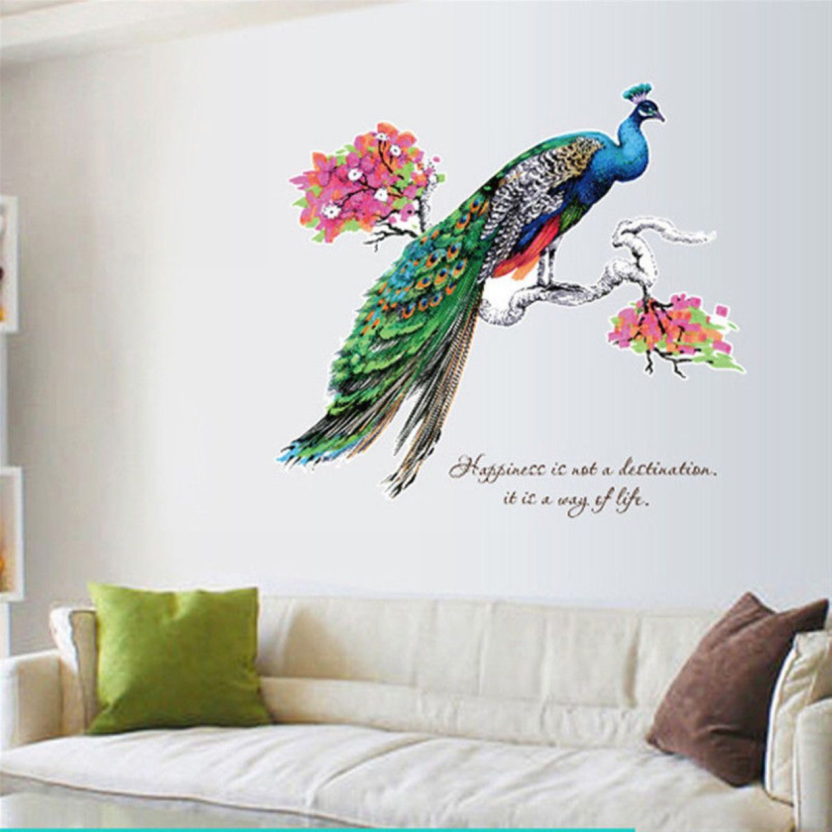 Delightful Fancy Peacock Wall Sticker Vinyl Removable Living Room Animal Decal Home  Mural Art Decoration Mayitr
