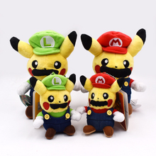10-20cm Peluche Pikachu Cosplay Super Mario Bros Luigi Mario Plush Toys Soft Stuffed Doll Christmas Gift For Children 2 Styles 20cm kpop bts bangtan boys jung plush toy soft not include doll cosplay mario clothes fan goods be girlfriend gift accessories