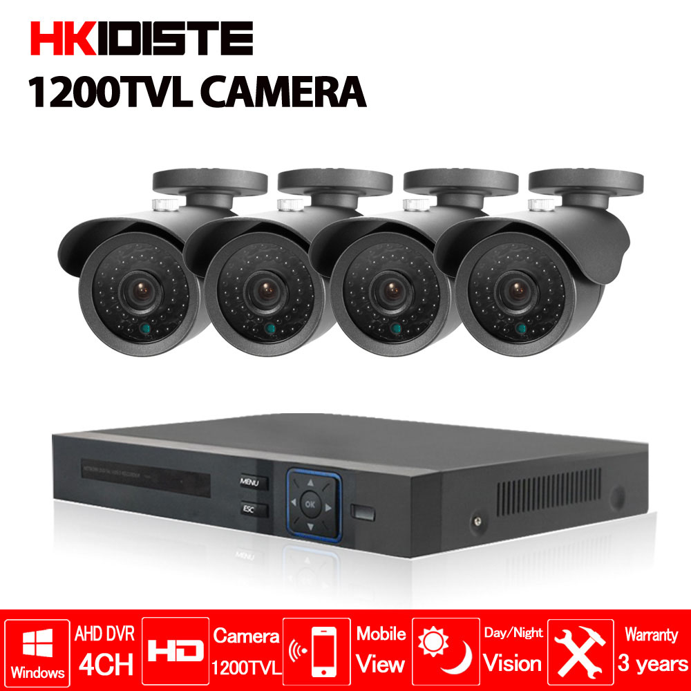 4CH 1080P HDMI 1080N DVR 1200TVL HD Outdoor Security Camera System 4 Channel CCTV AHD DVR Kit Nightvision CCTV Camera Set