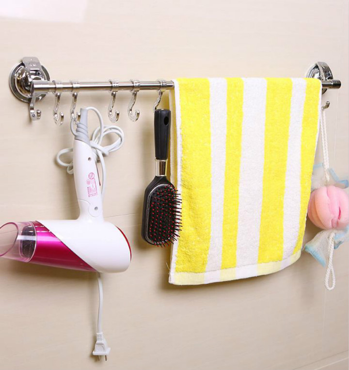 Suction Cup Towel bar, Removeable Wall Mounted Bathroom Kitchen Rack Premium Chrome with 6 Hooks-Stainless Steel