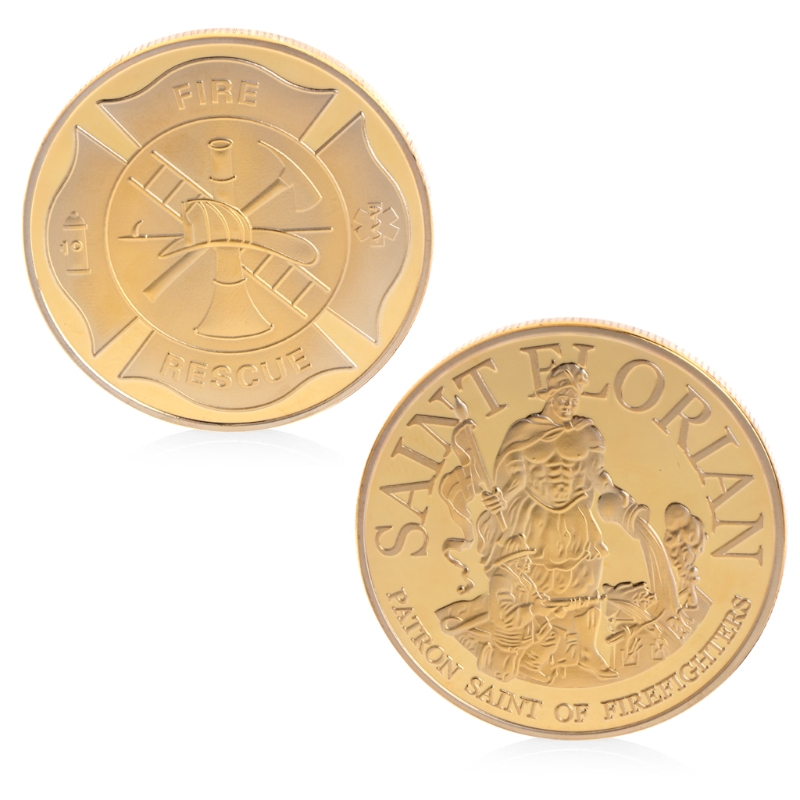 Commemorative Coin Collection Art Plating Imitation Golden Firefighters Rescue