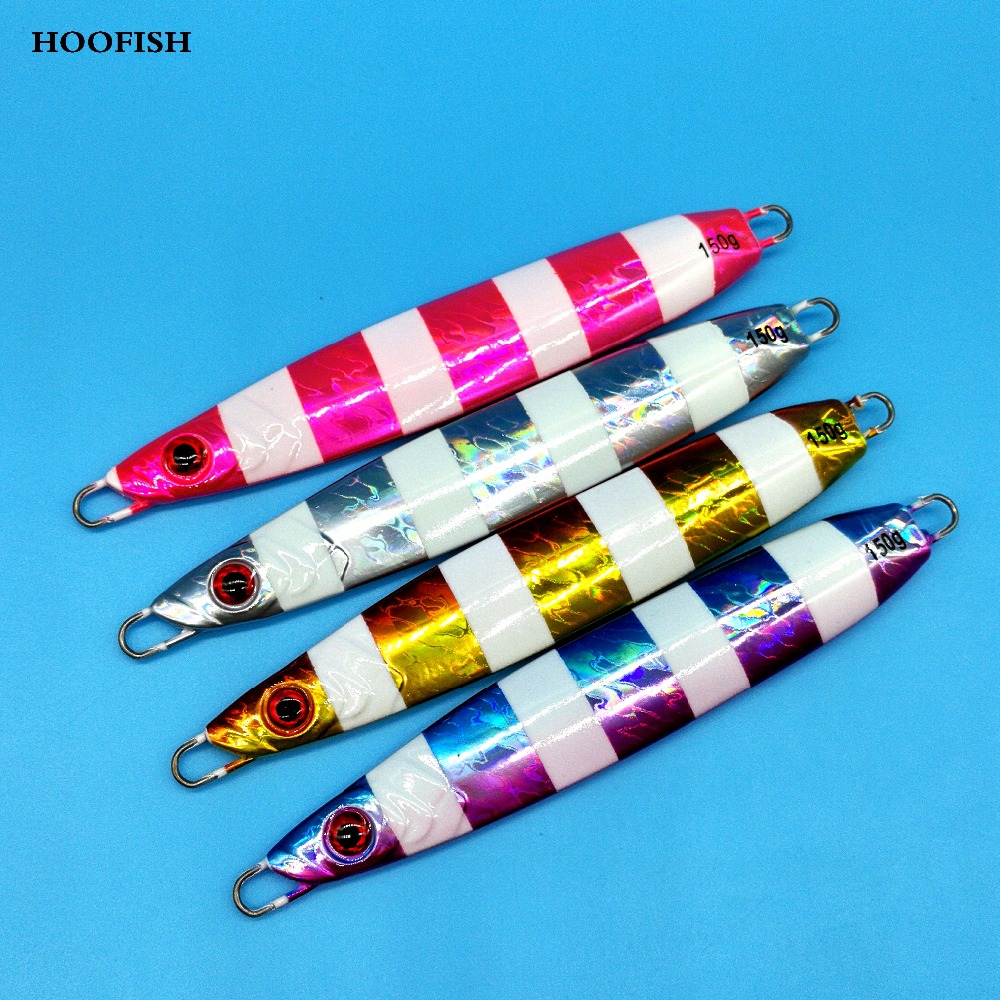 HOOFISH 4PCS/LOT Slow Jig Fishing Lure 150g/13cm Deep Sea Artificial Fishing Bait noctilucent bait hard lure