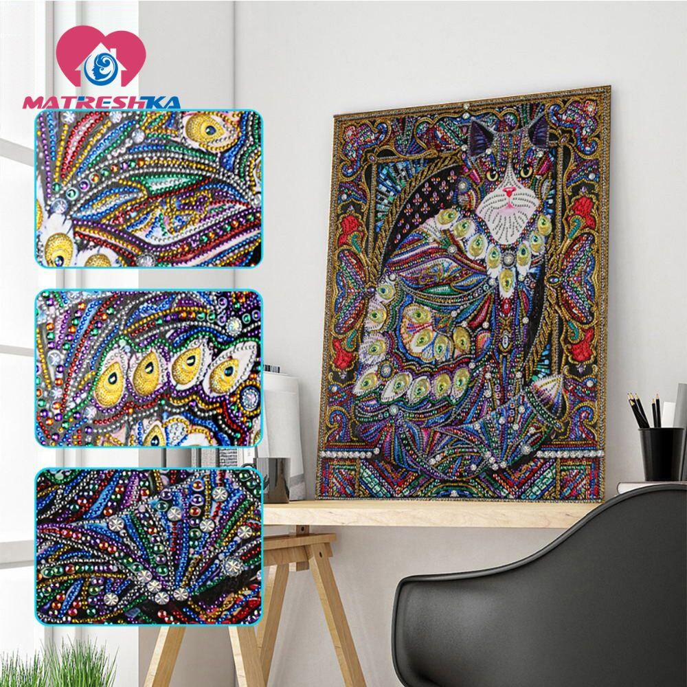 Speziell Geformte Diamant Malerei Katze Handwerk Hand 3d Bohrer Mosaik DIY Diamant Stickerei bilder von strass 40*50 cm