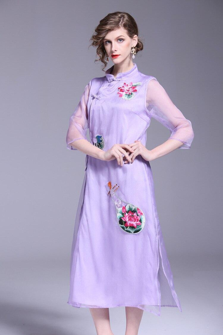 Nouveau Manches Lanmrem Moitié Split Broderie Dames De Mode D'été Robe Style Pu Ciel pourpre Mandarin Florale Chinois Femmes Col 2018 Lâche 145wT
