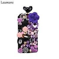 Anna Su Laumans proteção celular corda no pescoço cinta Strass 3D Flores 4S 5 5S de volta Caso Capa para o iphone 6 6 s plus 7 mais